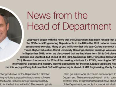 オックスフォード大学 Engineering Science(工学部)発行のニュースレター