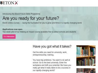 英国の名門ボーディングスクール イートン校がオンライン教育「EtonX」をグローバル展開