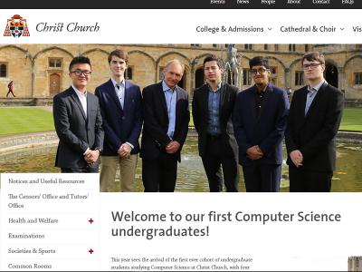 オックスフォード大学クライストチャーチ・カレッジのコンピューターサイエンス専攻ー初年度の学生が入学