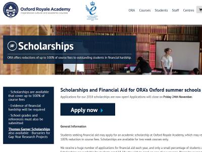Oxford Royale Academy サマースクールの奨学金