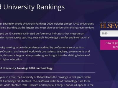 Times Higher Education(THE) 世界大学ランキング2020 上位50校
