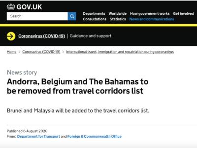 8月8日(土)以降、ベルギー、バハマ諸島は2週間の自主隔離免除国から除外。マレーシアは免除。
