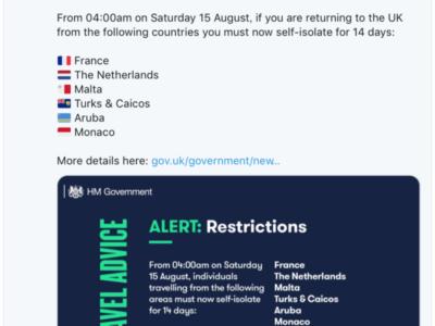 イギリス政府発表。8月15日(土)からフランスとオランダが2週間の自主隔離対象国に