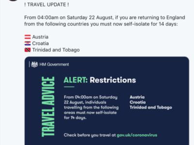 イギリス政府、8月22日(土)からオーストリア、クロアチアからの入国者に自主隔離措置。ポルトガルは免除。