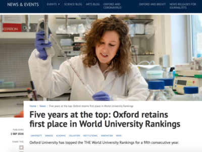 THE 世界大学ランキング2021発表 オックスフォード大学 5年連続1位