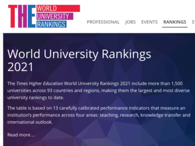 THE 世界大学ランキング 2021 上位50校