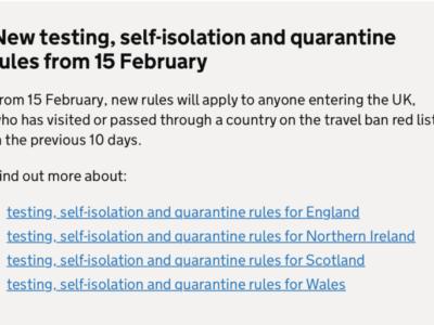 2月15日(月)以降、全てのイギリス入国者に隔離中2度のPCR検査義務。渡航禁止国リスト&隔離パッケージ